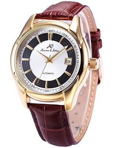 KS Herren Automatik Mechanisch Uhr Analog Datum Anzeige Leder Armband KS257