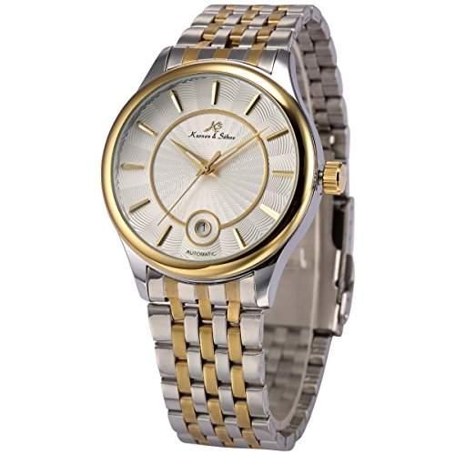 KS-KS260 Herren Automatik Mechanisch Uhr Silber Edelstahl Armband Analog Datumanzeige