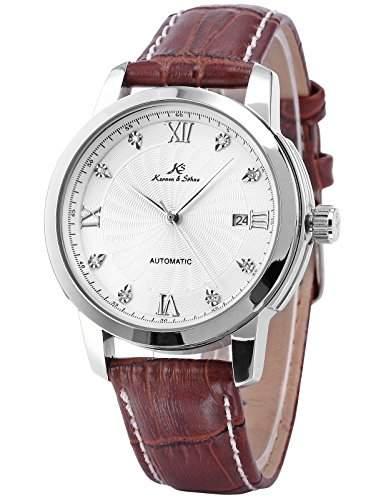 KS Herrenuhr Automatikuhr Mechanische Herren Uhr Leder Armbanduhr + Box