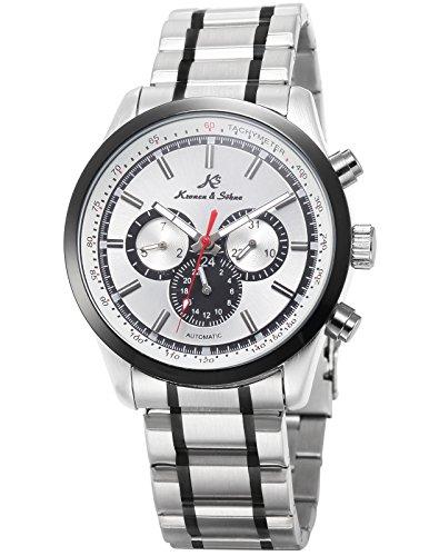 KS Herren Mechanische Armbanduhr Automatikuhr Stahlband Tag Datum Anzeige KS308