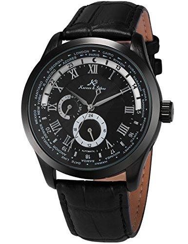 KS Herren Mechanische Armbanduhr Analog Schwarz Lederband KS306