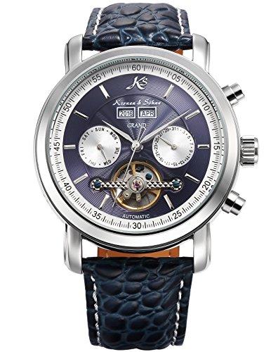 KS Herren Mechanische Tourbillon Armbanduhr mit hoelzerner Geschenbox KS370