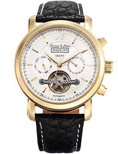 KS Herren Schwarze Mechanische Tourbillon Armbanduhr mit hoelzerner Geschenbox KS371