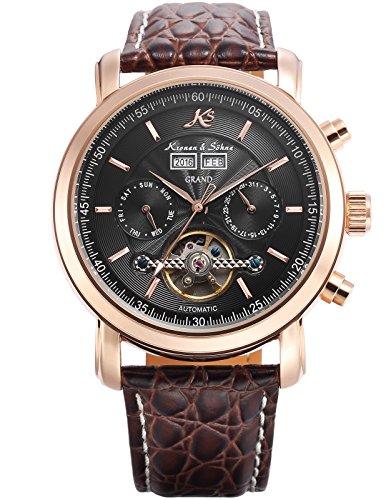 KS Herren Braune Mechanische Tourbillon Armbanduhr mit hoelzerner Geschenbox KS368