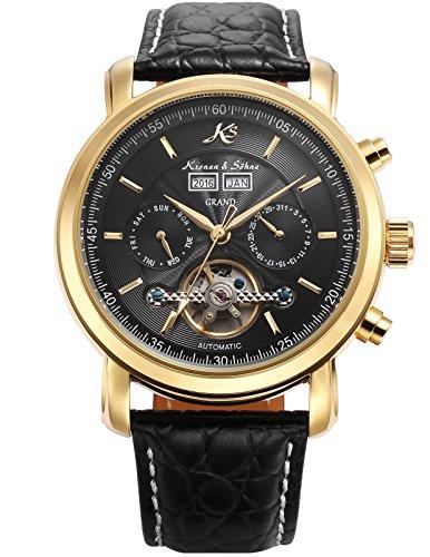 KS Herren Schwarze Mechanische Tourbillon Armbanduhr mit hoelzerner Geschenbox KS369