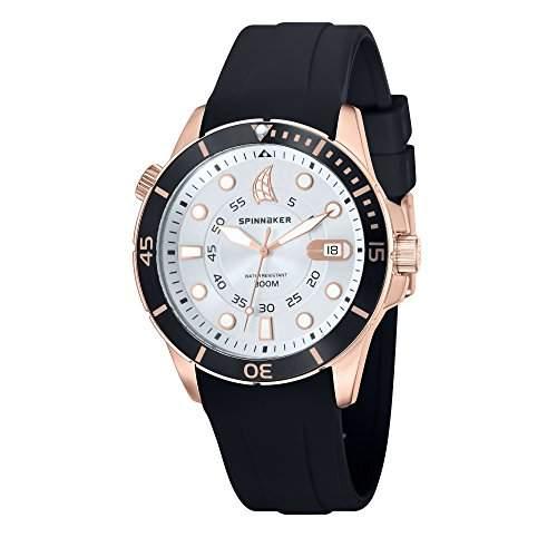 Spinnaker-sp-5005-08-Helium-Armbanduhr-Quarz Analog-Weisses Ziffernblatt-Armband Silikon Schwarz