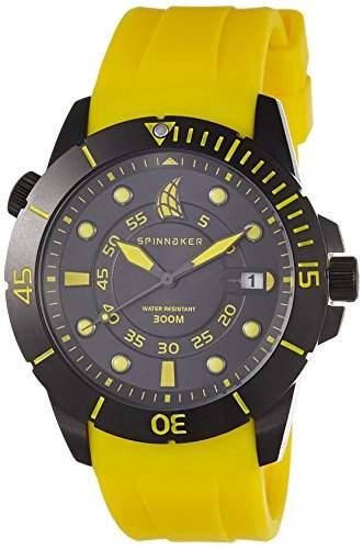 Spinnaker-sp-5005-10-Helium-Armbanduhr-Quarz Analog-Zifferblatt schwarz Armband Silikon Gelb