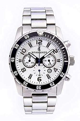 Spinnaker-sp-5009-22-Stern-Armbanduhr-Quarz Chronograph-Weisses Ziffernblatt-Armband Stahl Grau