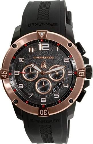 Spinnaker-sp-5013-03-Tornado-Armbanduhr-Quarz Chronograph-Zifferblatt schwarz Armband Silikon Schwarz