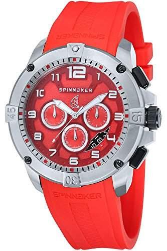 Spinnaker-sp-5013-set4-Tornado-Armbanduhr-Quarz Chronograph-Zifferblatt Rot Armband Silikon Rot