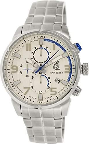 Spinnaker-sp-5018-22-Orkney-Armbanduhr-Quarz Chronograph-Weisses Ziffernblatt-Armband Stahl Grau