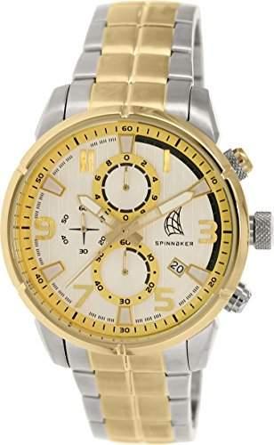 Spinnaker-sp-5018-44-Orkney-Armbanduhr-Quarz Chronograph-Weisses Ziffernblatt-Armband Stahl vergoldet zweifarbig