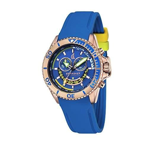 Spinnaker-sp-5021-03-Amalfi-Armbanduhr-Quarz Chronograph-Zifferblatt Blau Armband Silikon Blau
