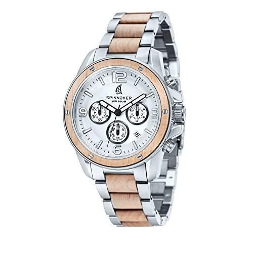 Spinnaker-sp-5027-11-Vessel-Armbanduhr-Quarz Chronograph-Zifferblatt Grau-Armband Stahl zweifarbig