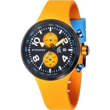 Spinnaker-sp-5029-01-Dynamic-Armbanduhr-Quarz Chronograph-Zifferblatt schwarz Armband Silikon Orange