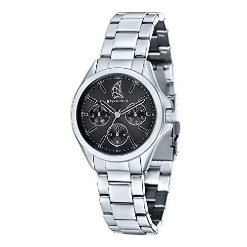 Spinnaker-sp-6002-11-Tiller Damen-Armbanduhr-Quarz Analog-Zifferblatt schwarz Armband Stahl Grau