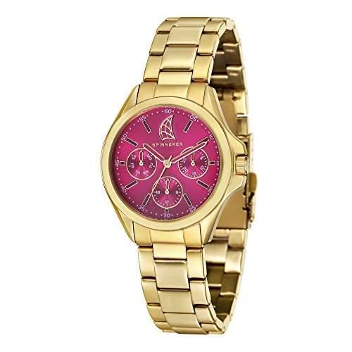 Spinnaker-sp-6002-44-Tiller Damen-Armbanduhr-Quarz Analog-Zifferblatt Violett Armband Stahl vergoldet Gold