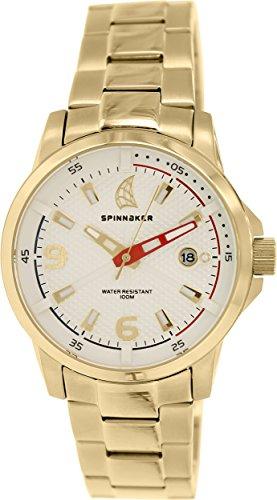 Spinnaker sp 5003 44 Wheel Winch Armbanduhr Quarz Analog Weisses Ziffernblatt Armband Stahl vergoldet Gold