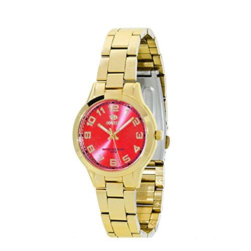 Uhr Flut Frau B21153 6 Gold und Rot Zifferblatt Kleine
