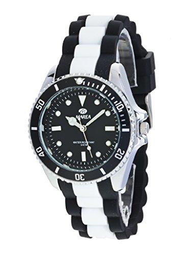 Uhr Flut Mann b41160 4 Gummi schwarz und weiss