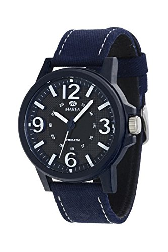 MAREA Armbanduhr Leder Textilband blau B35269 6