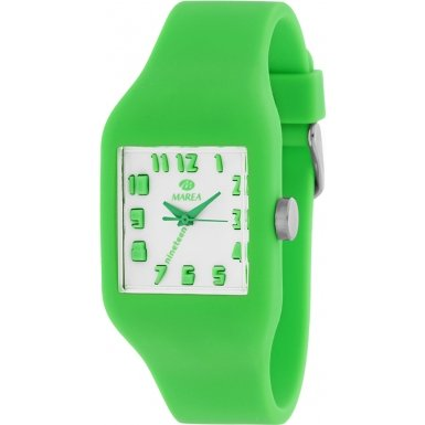 Marea Nineteen Small Square Face Analog Watch Green White Dial