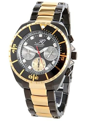 Ingraham Herren-Armbanduhr XL Syracuse Chronograph Quarz Edelstahl beschichtet IG SYRA1617417