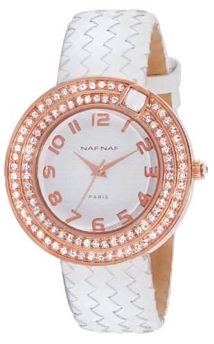 Naf Naf Damen-Armbanduhr Anastasie Quarz analog Leder Weiss N10072-801