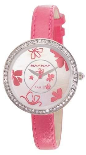 Naf Naf Damen-Armbanduhr Vanille Quarz analog Leder Rosa N10082-212