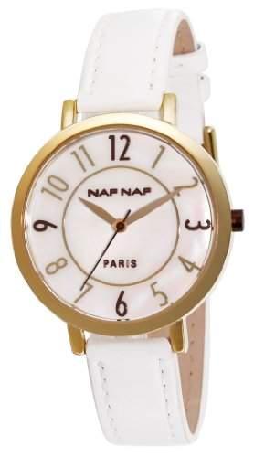 Naf Naf Damen-Armbanduhr Dianna Quarz analog Leder Weiss N10132-101
