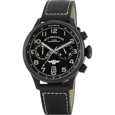 Sturmanskie - Herren Uhr Edelstahl Chronograph STW1251G7 Schwarzes Leder Band 100m Wasserfest