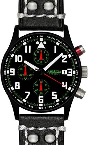 Astroavia N93BL2 Chronograph Lederband schwarz mit weisser Naht 40 mm