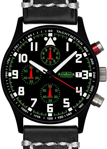 Astroavia N93BL3 Chronograph Lederarmband schwarz weisse Naht