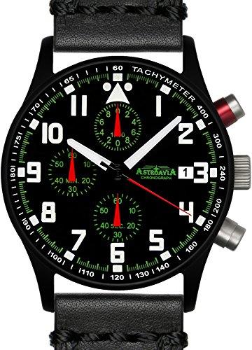 Astroavia N93BL4 Chronograph Lederarmband schwarz
