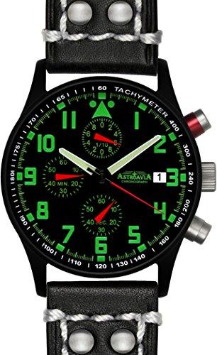 Astroavia N94BL2 Chronograph Lederband schwarz mit weisser Naht 40 mm