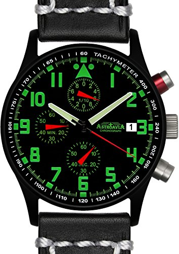 Astroavia N94BL3 Chronograph Lederarmband schwarz weisse Naht