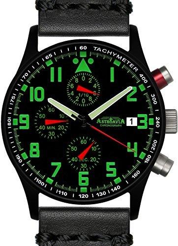 Astroavia N94BL4 Chronograph Lederarmband schwarz Herren Armbanduhr
