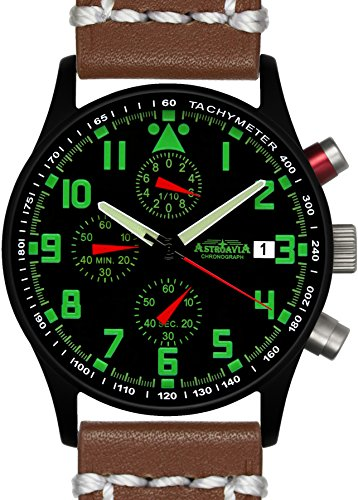 Astroavia N94BL7 Chronograph Lederarmband braun weisse Naht