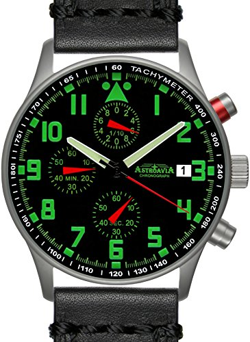 Astroavia N94L4 Chronograph mit Lederarmband schwarz 40 mm