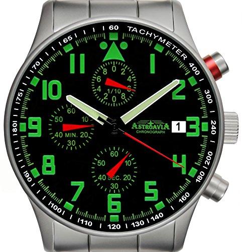 Astroavia N94S Chronograph mit Edelstahl Armband Herren Armbanduhr 40 mm