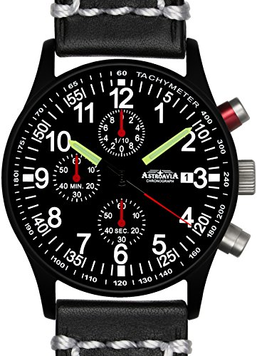Astroavia N97BL3 Chronograph Lederarmband schwarz weisse Naht Herren Armbanduhr