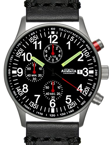 Astroavia N97L4 Chronograph mit Lederarmband schwarz Herren Armbanduhr 40 mm