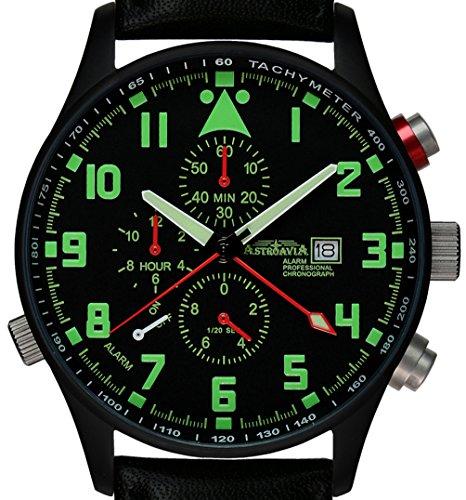 Astroavia P4BL Alarm Chronograph mit Lederband Herren Armbanduhr Quarz 42 mm schwarz PVD beschichtet