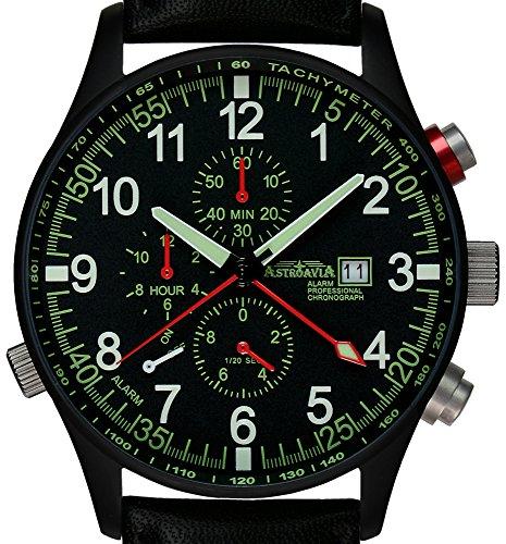 Astroavia P7BL Alarm Chronograph mit Ledarband schwarz PVD beschichet 42mm