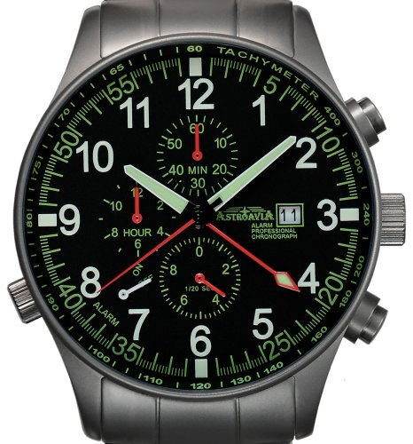 Astroavia P7S Alarm Chronograph mit Edelstahl Armband Herren Armbanduhr Quarz 42 mm