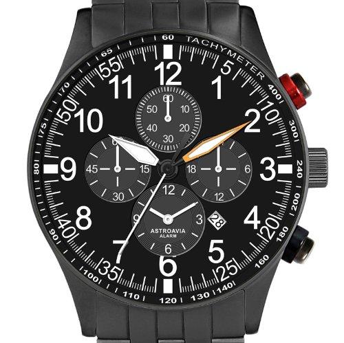 Astroavia V10S Alarm Chronograph mit Edelstahl Armband Herren Armbanduhr Quarz