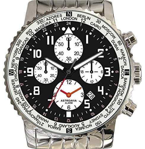 Astroavia F1S Alarm Chronograph mit Edelstahl Armband Herren-Armbanduhr Quarz