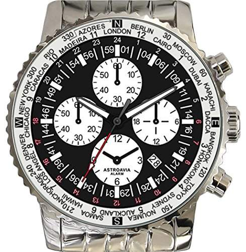 Astroavia F2S Alarm Chronograph mit Edelstahl Armband Herren-Armbanduhr Quarz