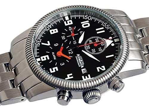 Astroavia K2S Herren-Armbanduhr Chronograph Quarz Edelstahl, mit Alarm