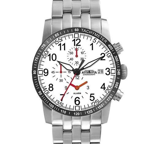 Astroavia K6S Herren-Armbanduhr Chronograph Quarz Edelstahl, mit Alarm